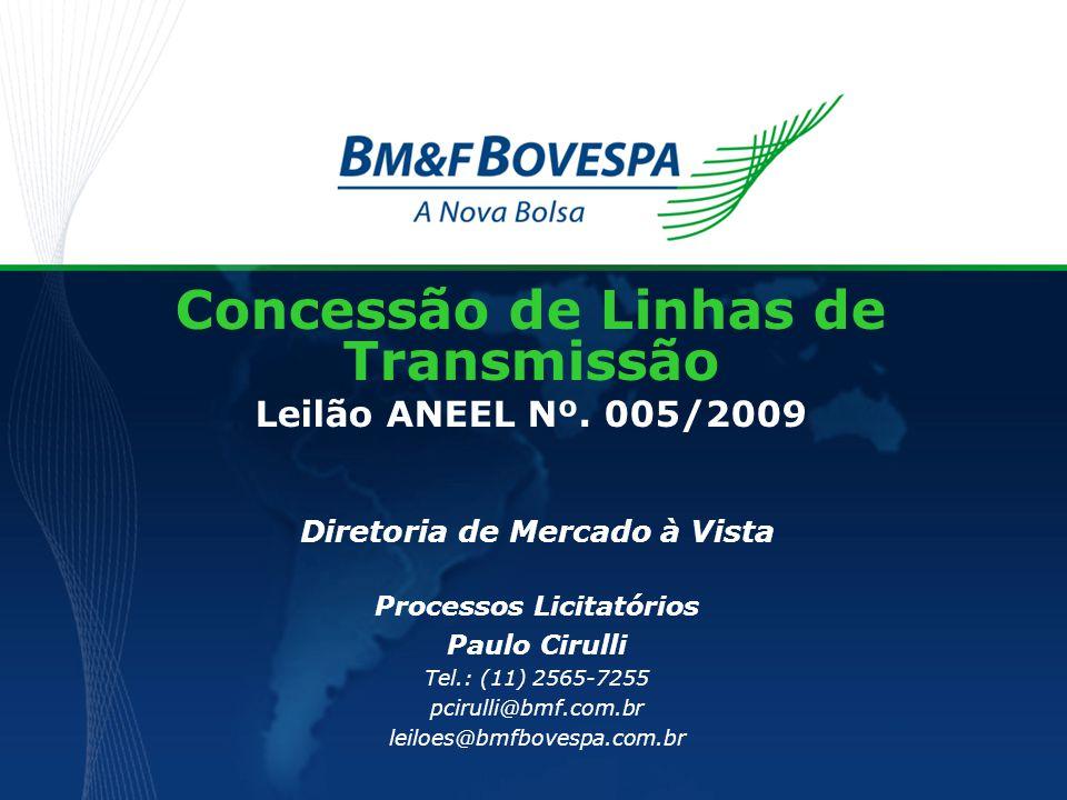 Concessão de Linhas de Transmissão Leilão ANEEL Nº. 005/2009 Diretoria de Mercado à Vista Processos Licitatórios Paulo Cirulli Tel.: (11) 2565-7255 pc
