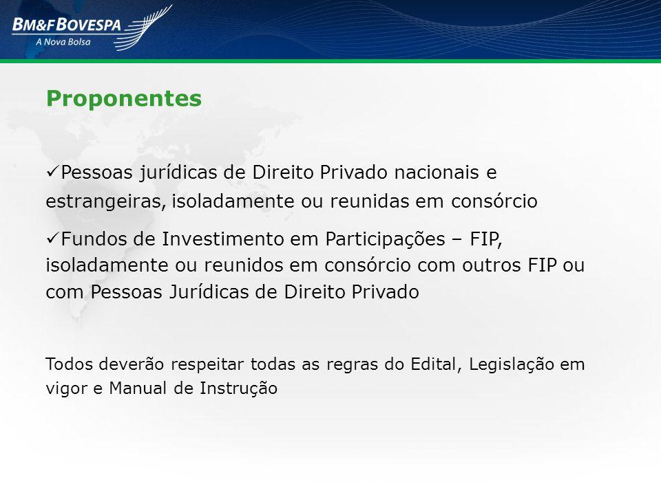 Proponentes Pessoas jurídicas de Direito Privado nacionais e estrangeiras, isoladamente ou reunidas em consórcio Fundos de Investimento em Participaçõ