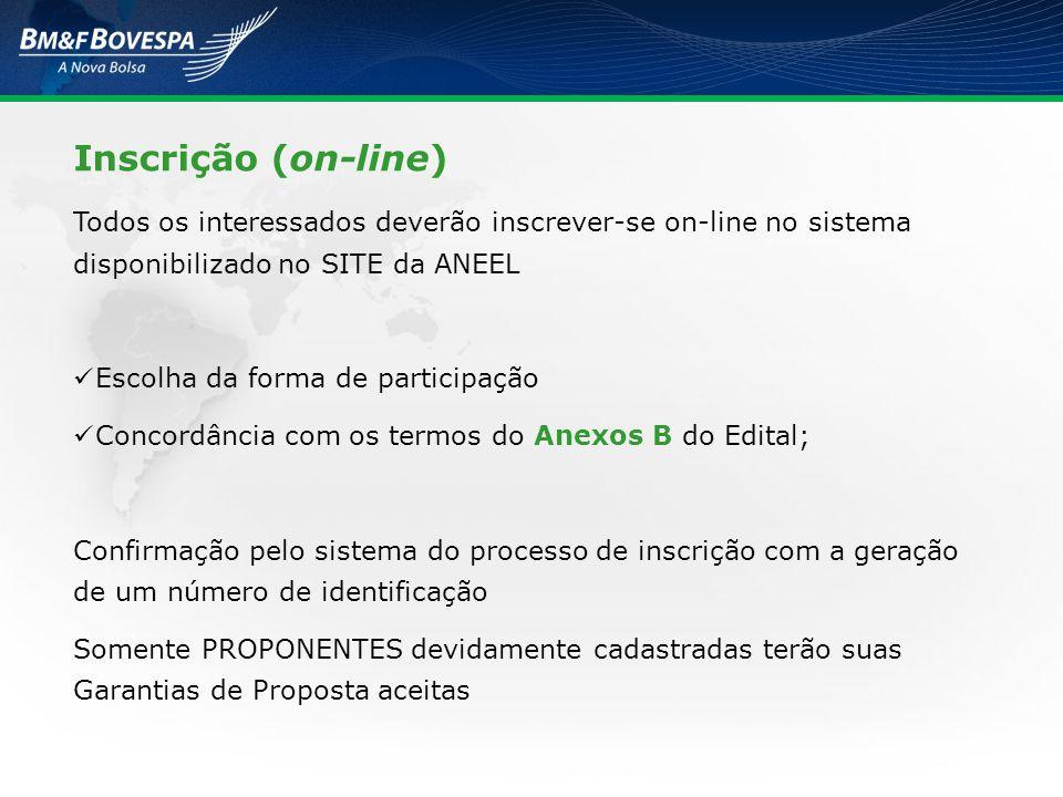 Inscrição (on-line) Todos os interessados deverão inscrever-se on-line no sistema disponibilizado no SITE da ANEEL Escolha da forma de participação Co