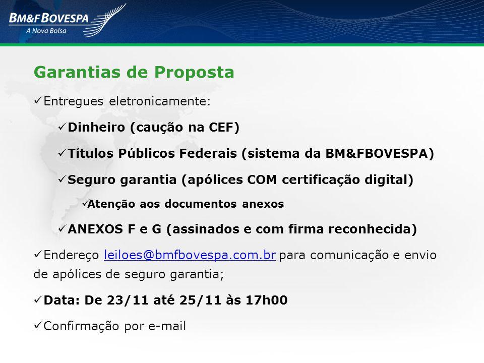 Garantias de Proposta Entregues eletronicamente: Dinheiro (caução na CEF) Títulos Públicos Federais (sistema da BM&FBOVESPA) Seguro garantia (apólices
