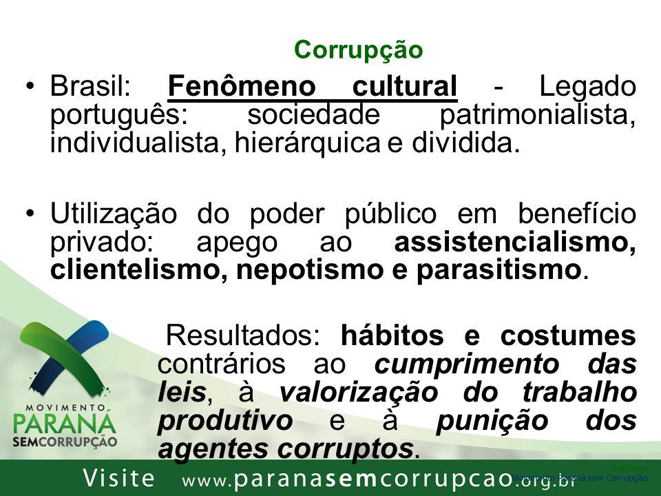 Encontro Corrupção – Dados Preocupantes fonte: Centro de Referência do Interesse Público / Vox Populi, 2008