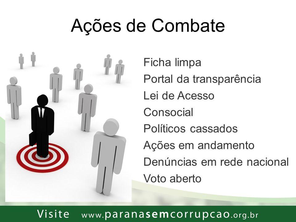 Encontro Movimento Paraná sem Corrupção Corrupção Combate à corrupção: duas perspectivas: i)acabar com a impunidade: DEPEN: 514 mil presos: 0,12% (= 632 pessoas) por crimes contra a Adm.