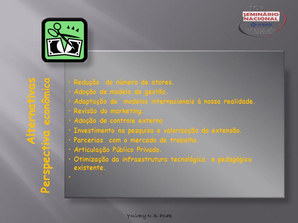 Ymiracy N. S. Polak Alternativas Perspectiva econômica Redução do número de atores. Adoção de modelo de gestão. Adaptação de modelos internacionais à