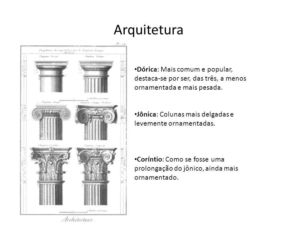 Arquitetura Dórica: Mais comum e popular, destaca-se por ser, das três, a menos ornamentada e mais pesada. Jônica: Colunas mais delgadas e levemente o