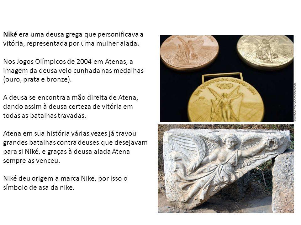 Niké era uma deusa grega que personificava a vitória, representada por uma mulher alada. Nos Jogos Olímpicos de 2004 em Atenas, a imagem da deusa veio
