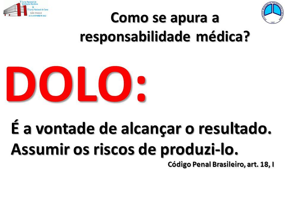 Como se apura a responsabilidade médica? DOLO: É a vontade de alcançar o resultado. Assumir os riscos de produzi-lo. Código Penal Brasileiro, art. 18,