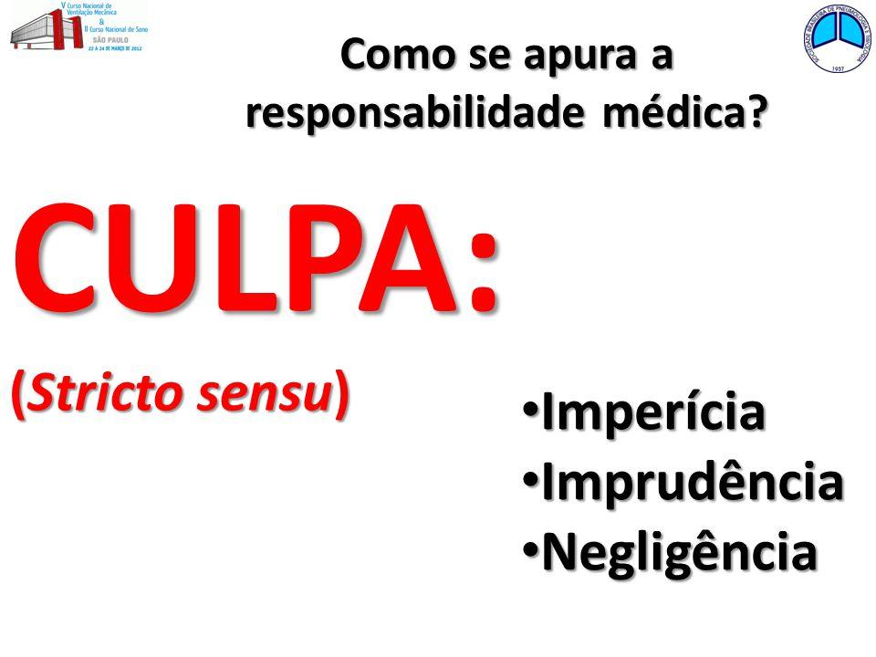Como se apura a responsabilidade médica? CULPA: (Stricto sensu) Imperícia Imperícia Imprudência Imprudência Negligência Negligência