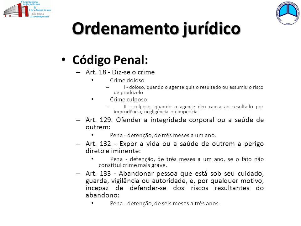 Ordenamento jurídico Código Penal: – Art. 18 - Diz-se o crime Crime doloso – I - doloso, quando o agente quis o resultado ou assumiu o risco de produz