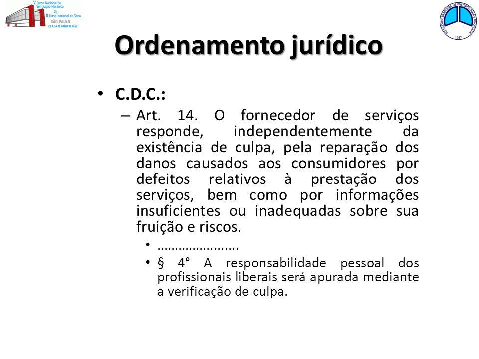 Ordenamento jurídico C.D.C.: – Art. 14. O fornecedor de serviços responde, independentemente da existência de culpa, pela reparação dos danos causados
