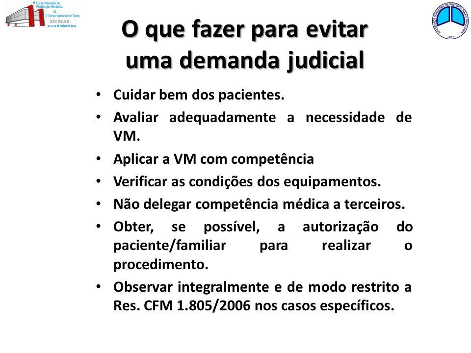 O que fazer para evitar uma demanda judicial Cuidar bem dos pacientes. Avaliar adequadamente a necessidade de VM. Aplicar a VM com competência Verific