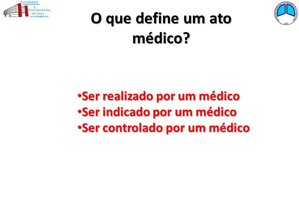 O que define um ato médico? Ser realizado por um médico Ser realizado por um médico Ser indicado por um médico Ser indicado por um médico Ser controla