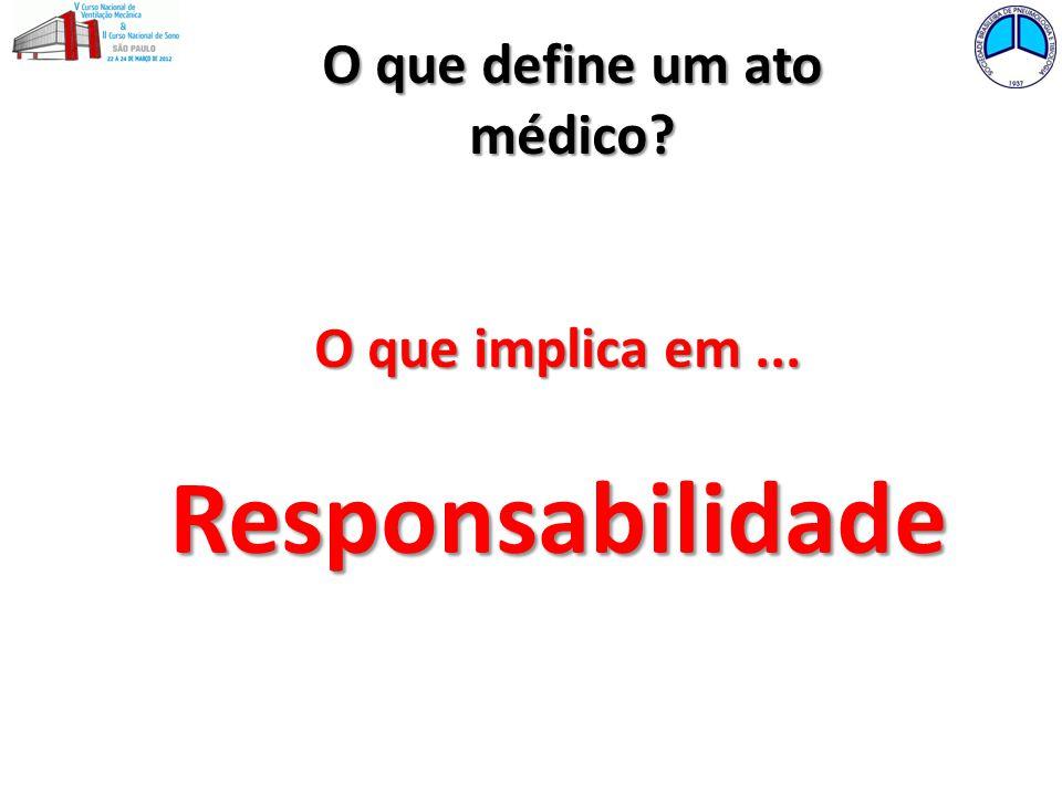 O que define um ato médico? O que implica em... Responsabilidade