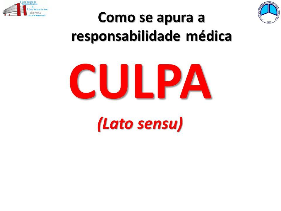 CULPA (Lato sensu) Como se apura a responsabilidade médica