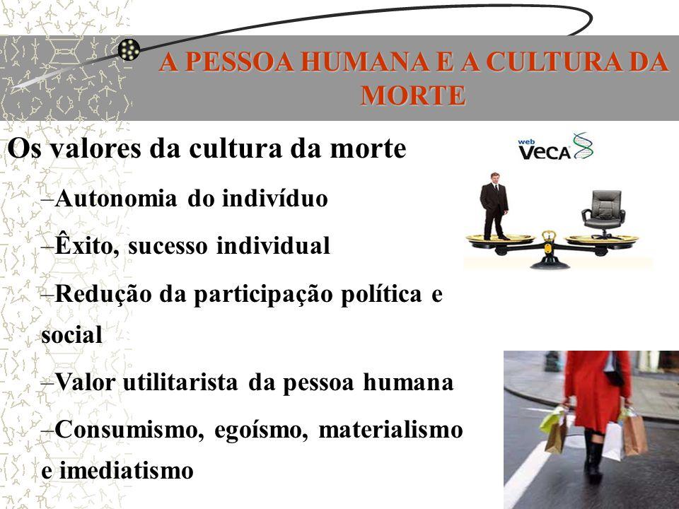 A PESSOA HUMANA E A CULTURA DA MORTE Os valores da cultura da morte –Autonomia do indivíduo –Êxito, sucesso individual –Redução da participação políti