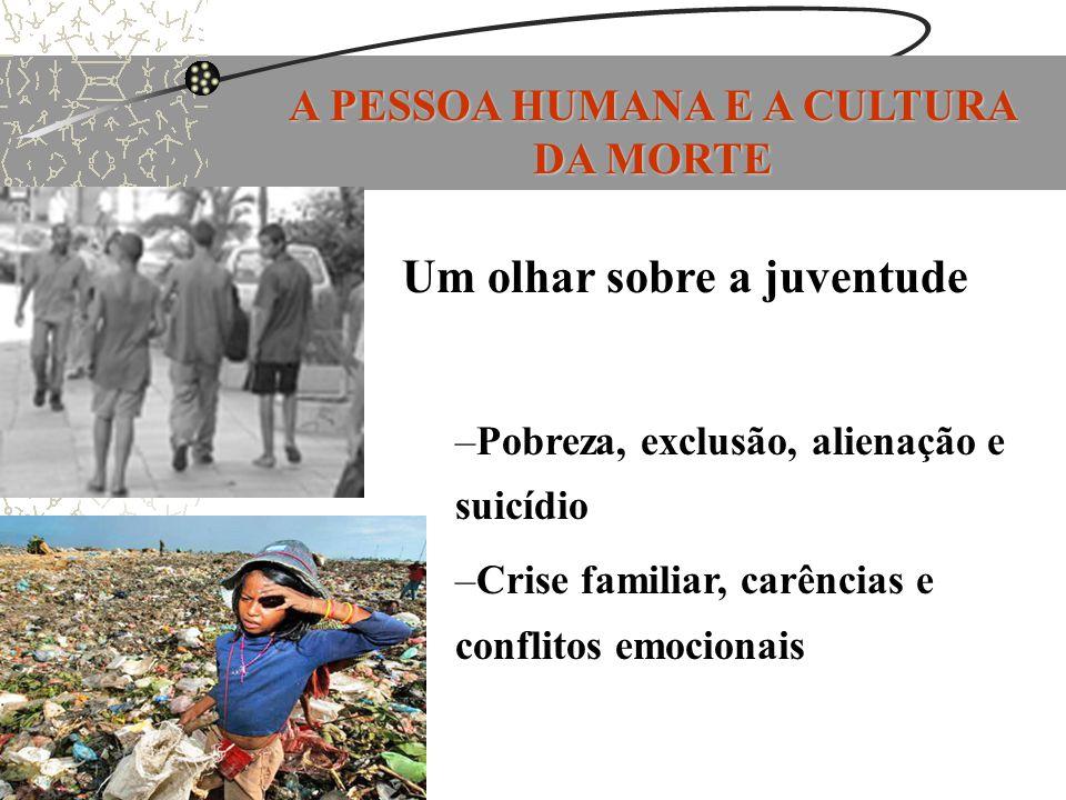A PESSOA HUMANA E A CULTURA DA MORTE Um olhar sobre a juventude –Pobreza, exclusão, alienação e suicídio –Crise familiar, carências e conflitos emocio