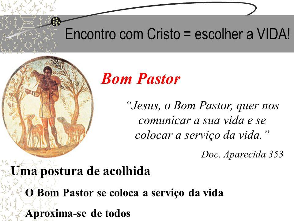 Encontro com Cristo = escolher a VIDA! Bom Pastor Jesus, o Bom Pastor, quer nos comunicar a sua vida e se colocar a serviço da vida. Doc. Aparecida 35