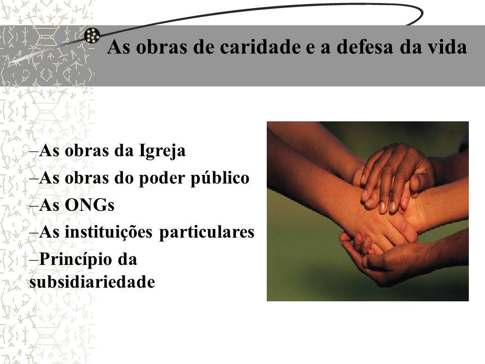 As obras de caridade e a defesa da vida –As obras da Igreja –As obras do poder público –As ONGs –As instituições particulares –Princípio da subsidiari