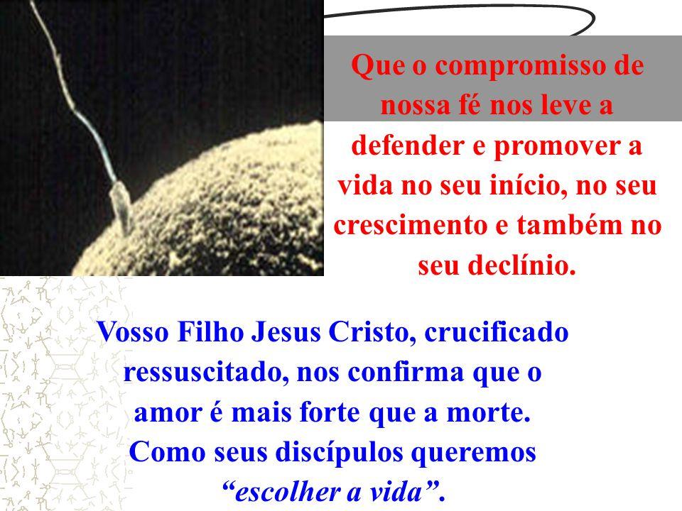 Vosso Filho Jesus Cristo, crucificado ressuscitado, nos confirma que o amor é mais forte que a morte. Como seus discípulos queremos escolher a vida. Q