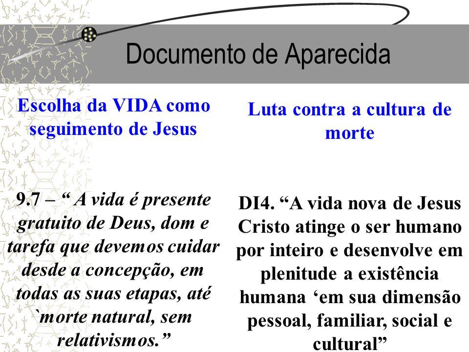 Documento de Aparecida Escolha da VIDA como seguimento de Jesus 9.7 – A vida é presente gratuito de Deus, dom e tarefa que devemos cuidar desde a conc