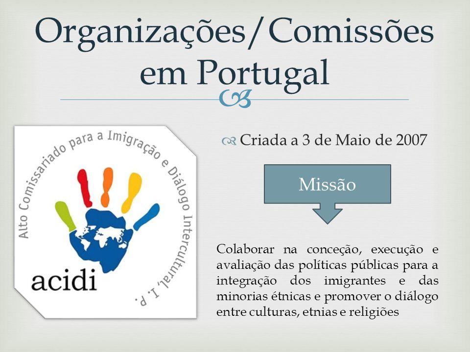 Organizações/Comissões em Portugal Criada a 3 de Maio de 2007 Missão garantir a execução das políticas públicas no âmbito da cidadania e da promoção e
