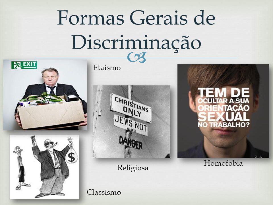 Discriminação Direta/Indireta Sempre que uma pessoa é sujeita a tratamento menos favorável devido às suas características Critério que coloca indivídu
