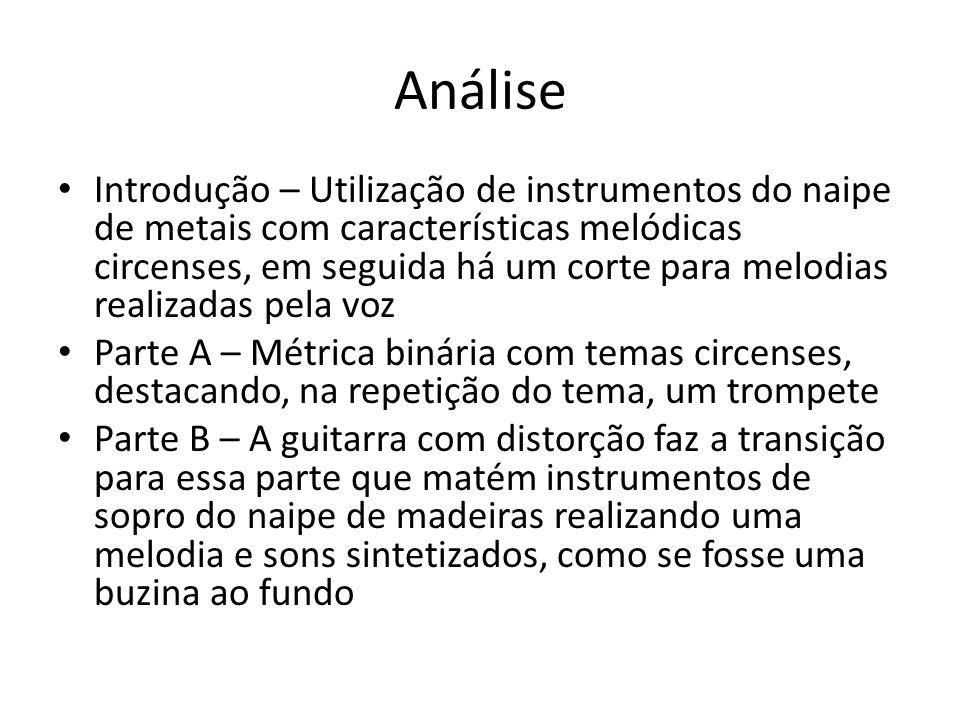 Análise Introdução – Utilização de instrumentos do naipe de metais com características melódicas circenses, em seguida há um corte para melodias reali