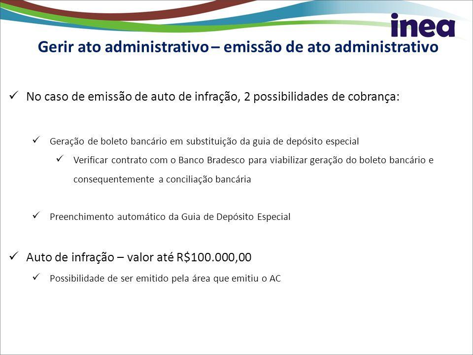 Gerir ato administrativo – emissão de ato administrativo No caso de emissão de auto de infração, 2 possibilidades de cobrança: Geração de boleto bancá