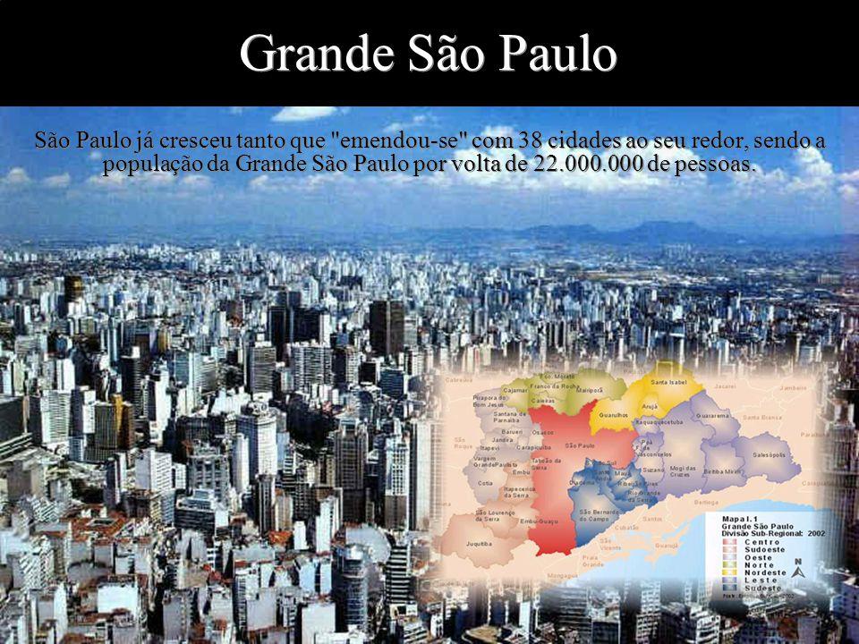 Levantamento Preparado por Harold McCardell - Consultor Financeiro - L L A I N V E S T I M E N T O S - t: (11) 3095-7073 | c: (11) 9982-0573 - f: (11) 3095-7071 - www.lla.com.br Grande São Paulo São Paulo já cresceu tanto que emendou-se com 38 cidades ao seu redor, sendo a população da Grande São Paulo por volta de 22.000.000 de pessoas.