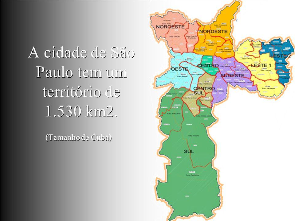 Levantamento Preparado por Harold McCardell - Consultor Financeiro - L L A I N V E S T I M E N T O S - t: (11) 3095-7073 | c: (11) 9982-0573 - f: (11) 3095-7071 - www.lla.com.br A cidade de São Paulo tem um território de 1.530 km2.