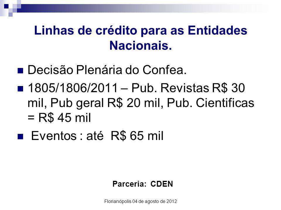 Linhas de crédito para as Entidades Nacionais. Parceria: CDEN Decisão Plenária do Confea.