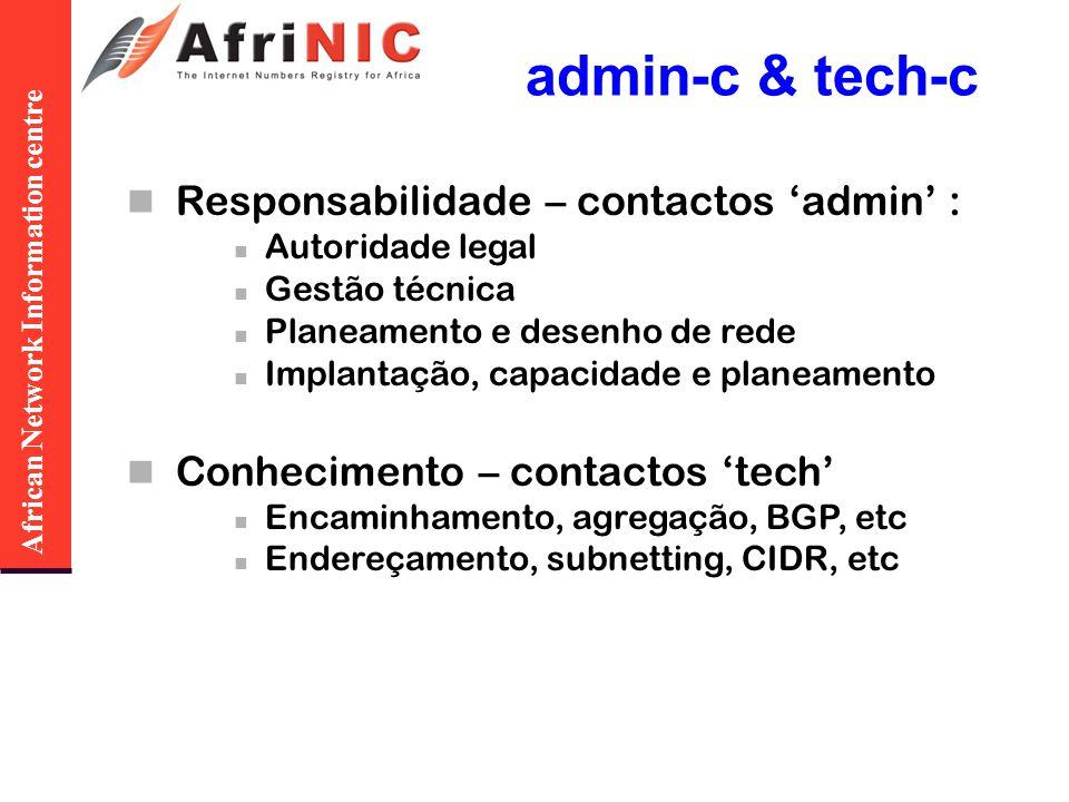 African Network Information centre admin-c & tech-c Responsabilidade – contactos admin : Autoridade legal Gestão técnica Planeamento e desenho de rede