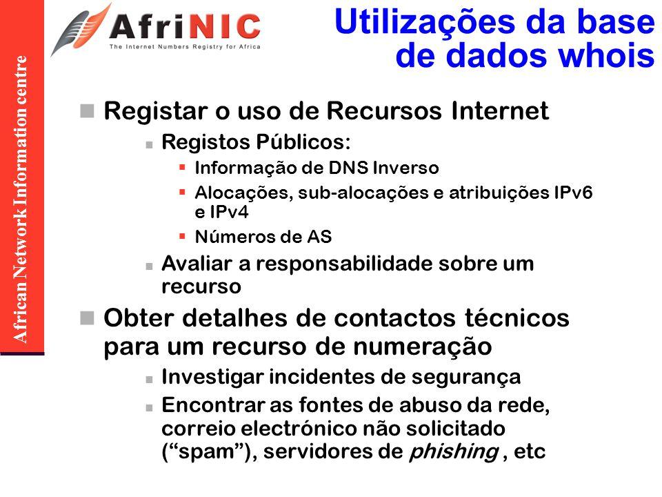 African Network Information centre Utilizações da base de dados whois Registar o uso de Recursos Internet Registos Públicos: Informação de DNS Inverso Alocações, sub-alocações e atribuições IPv6 e IPv4 Números de AS Avaliar a responsabilidade sobre um recurso Obter detalhes de contactos técnicos para um recurso de numeração Investigar incidentes de segurança Encontrar as fontes de abuso da rede, correio electrónico não solicitado (spam), servidores de phishing, etc
