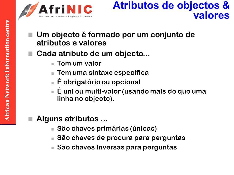African Network Information centre Atributos de objectos & valores Um objecto é formado por um conjunto de atributos e valores Cada atributo de um obj