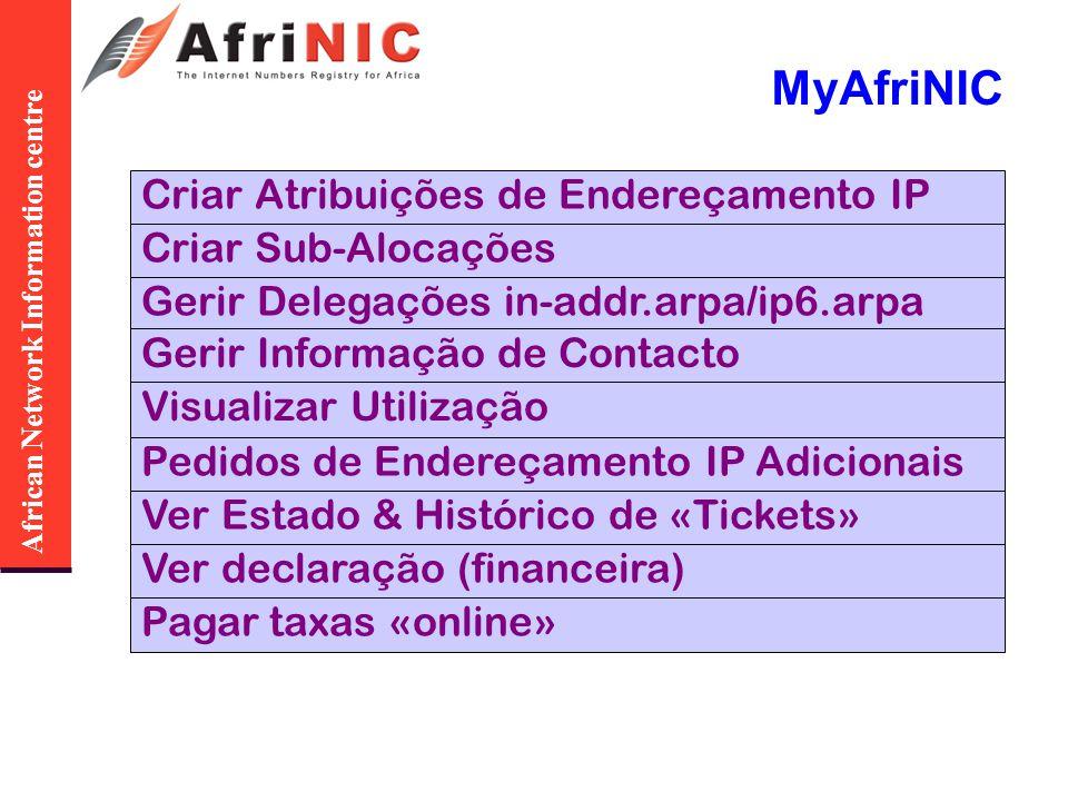 African Network Information centre MyAfriNIC Criar Atribuições de Endereçamento IP Criar Sub-Alocações Gerir Delegações in-addr.arpa/ip6.arpa Gerir In