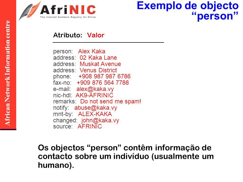 African Network Information centre A base de dados Whois do AfriNIC: Segurança de Objectos