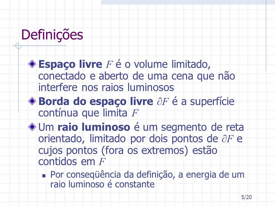 5/20 Definições Espaço livre F é o volume limitado, conectado e aberto de uma cena que não interfere nos raios luminosos Borda do espaço livre F é a s