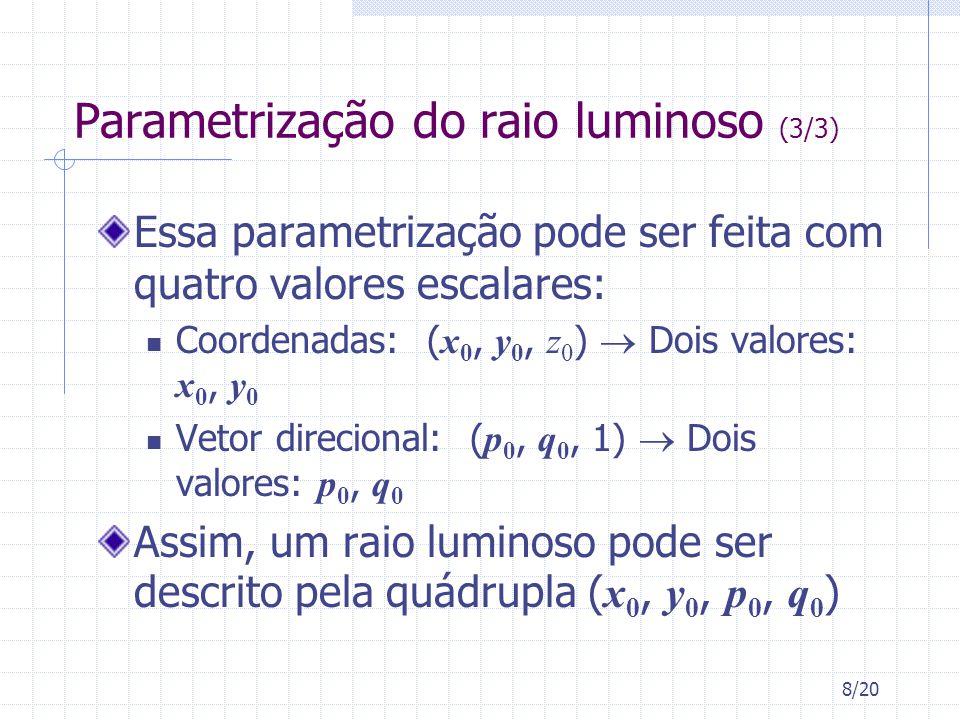 8/20 Parametrização do raio luminoso (3/3) Essa parametrização pode ser feita com quatro valores escalares: Coordenadas: ( x 0, y 0, z 0 ) Dois valore