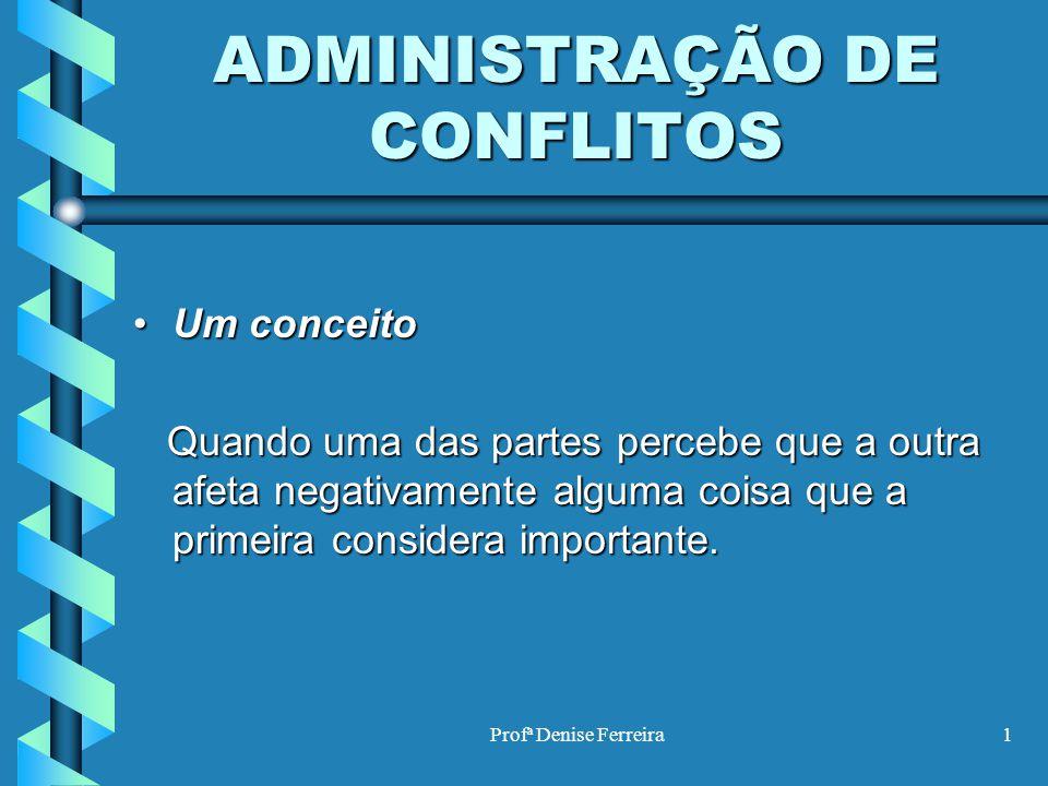 Profª Denise Ferreira1 ADMINISTRAÇÃO DE CONFLITOS Um conceitoUm conceito Quando uma das partes percebe que a outra afeta negativamente alguma coisa qu