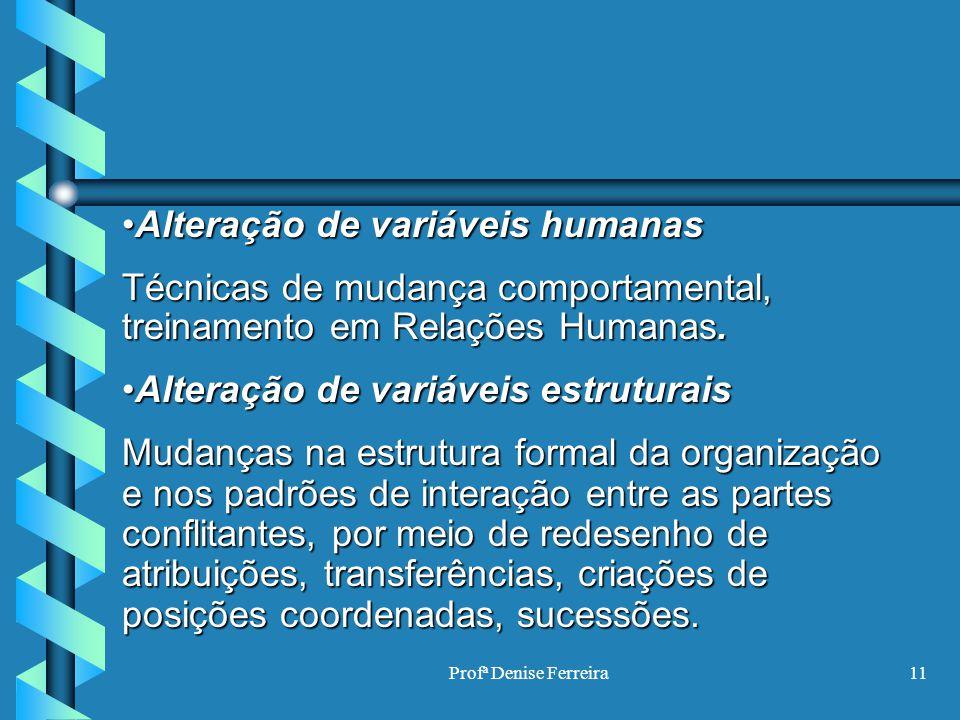 Profª Denise Ferreira11 Alteração de variáveis humanasAlteração de variáveis humanas Técnicas de mudança comportamental, treinamento em Relações Human