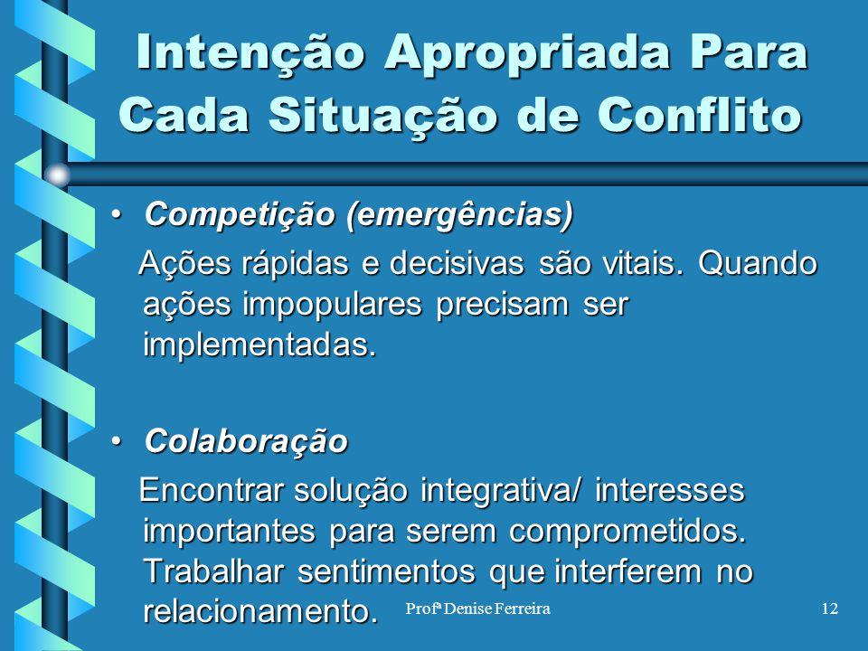 Profª Denise Ferreira12 Intenção Apropriada Para Cada Situação de Conflito Intenção Apropriada Para Cada Situação de Conflito Competição (emergências)