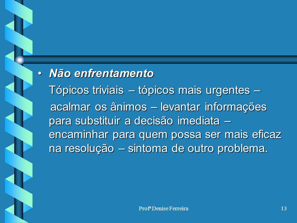 Profª Denise Ferreira13 Não enfrentamentoNão enfrentamento Tópicos triviais – tópicos mais urgentes – acalmar os ânimos – levantar informações para su