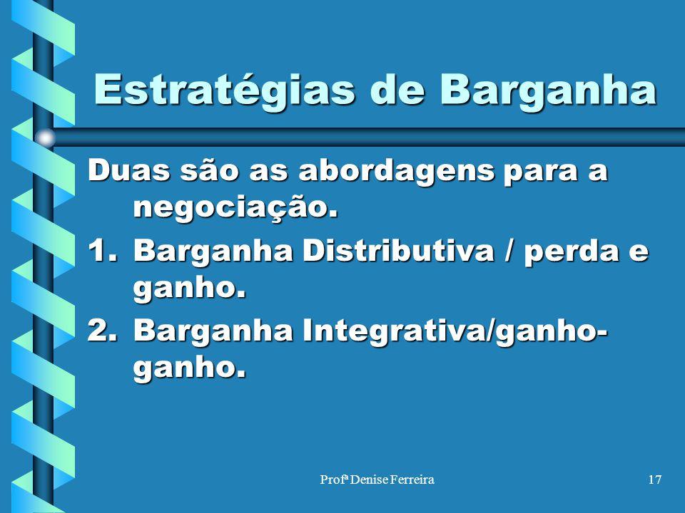 Profª Denise Ferreira17 Estratégias de Barganha Duas são as abordagens para a negociação. 1.Barganha Distributiva / perda e ganho. 2.Barganha Integrat