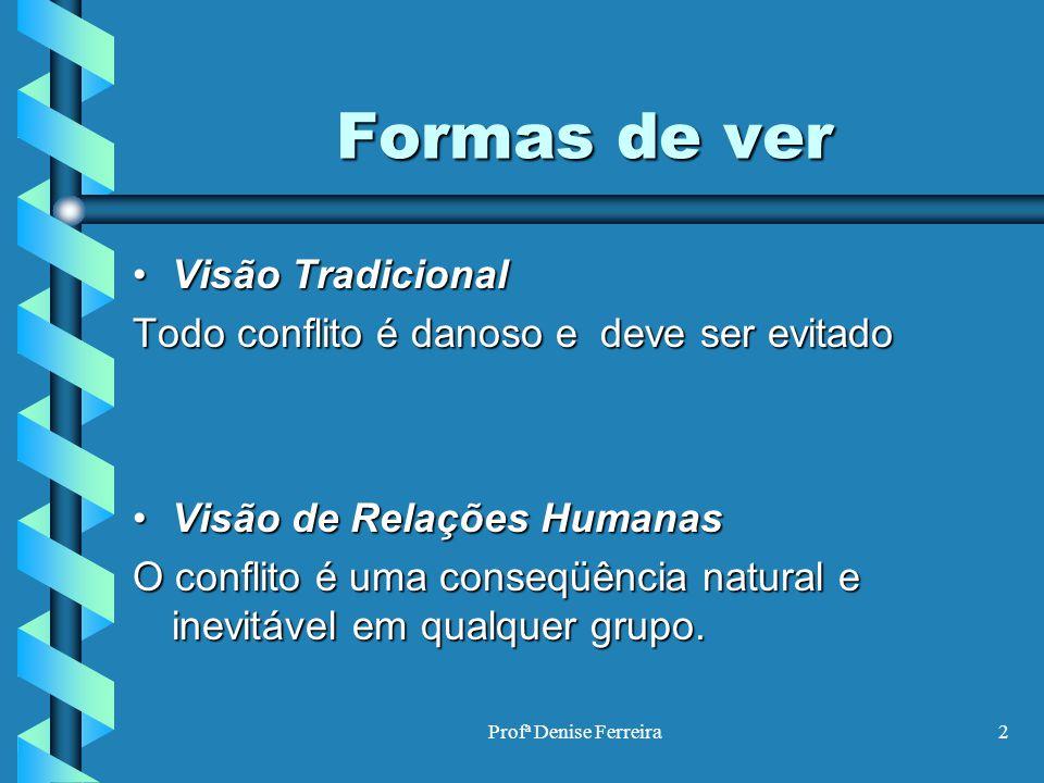 Profª Denise Ferreira2 Formas de ver Formas de ver Visão TradicionalVisão Tradicional Todo conflito é danoso e deve ser evitado Visão de Relações Huma