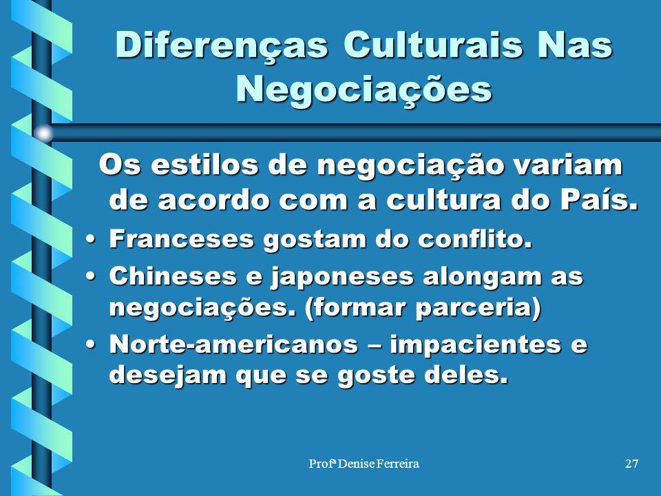 Profª Denise Ferreira27 Diferenças Culturais Nas Negociações Os estilos de negociação variam de acordo com a cultura do País. Franceses gostam do conf