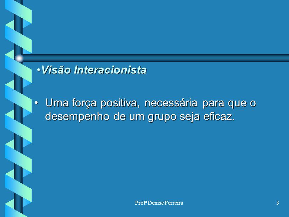 Profª Denise Ferreira3 Visão InteracionistaVisão Interacionista Uma força positiva, necessária para que o desempenho de um grupo seja eficaz.Uma força