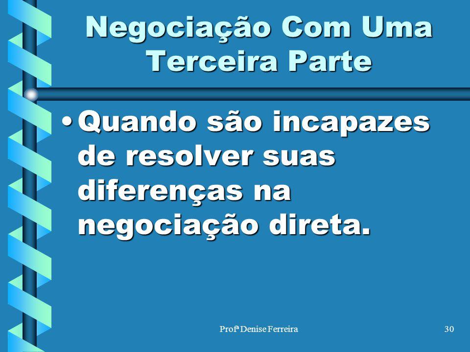 Profª Denise Ferreira30 Negociação Com Uma Terceira Parte Quando são incapazes de resolver suas diferenças na negociação direta.Quando são incapazes d
