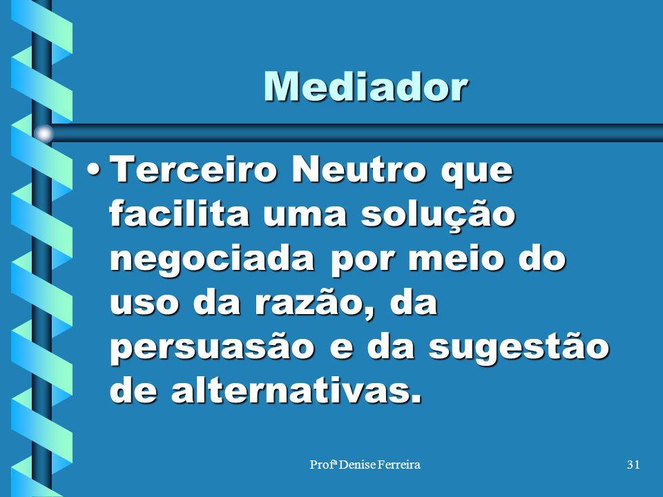 Profª Denise Ferreira31 Mediador Terceiro Neutro que facilita uma solução negociada por meio do uso da razão, da persuasão e da sugestão de alternativ