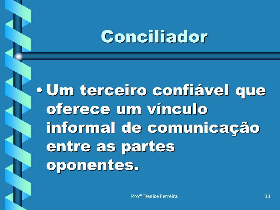 Profª Denise Ferreira33 Conciliador Um terceiro confiável que oferece um vínculo informal de comunicação entre as partes oponentes.Um terceiro confiáv