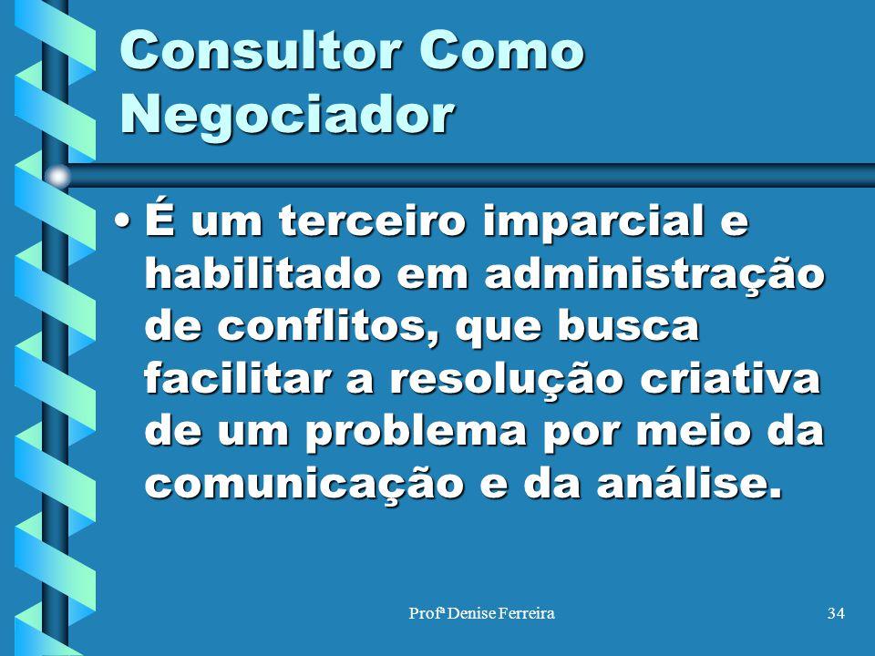Profª Denise Ferreira34 Consultor Como Negociador É um terceiro imparcial e habilitado em administração de conflitos, que busca facilitar a resolução