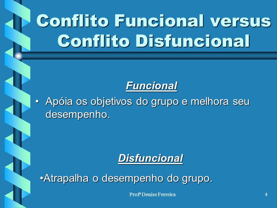 Profª Denise Ferreira4 Conflito Funcional versus Conflito Disfuncional Funcional Apóia os objetivos do grupo e melhora seu desempenho.Apóia os objetiv